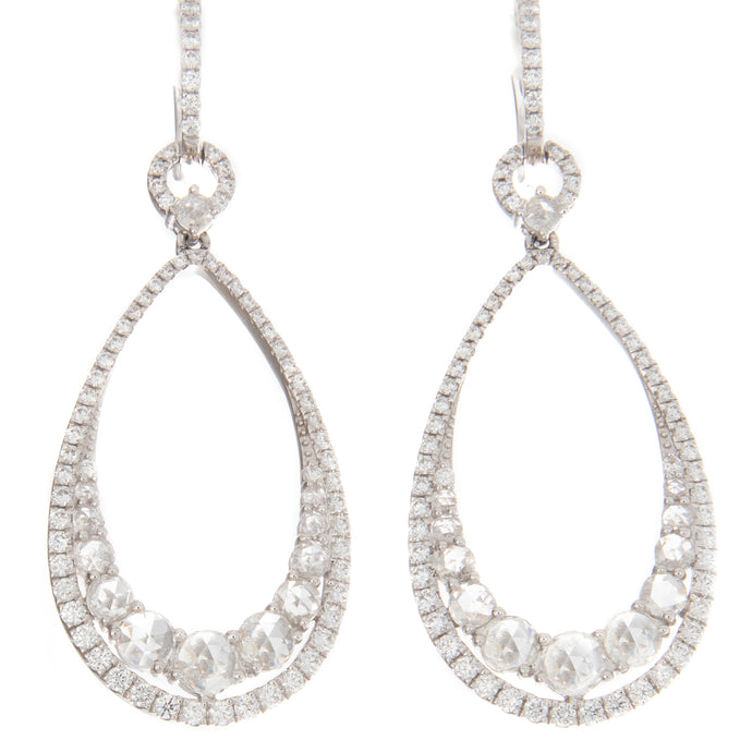 2.71ct 18k White Gold Rose Cut Diamond Earrings