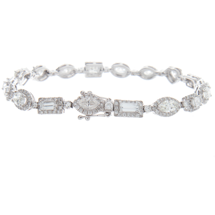 7.13ct 18k White Gold Diamond Bracelet