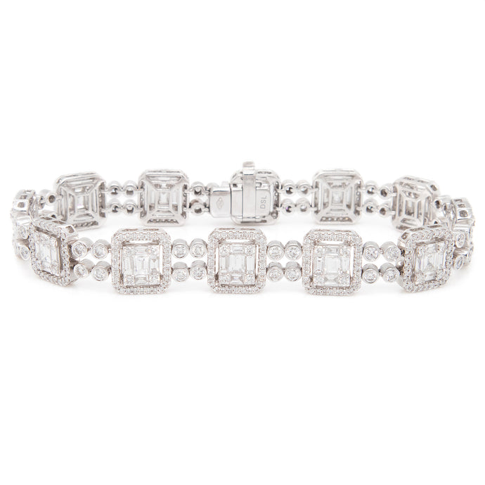 6.09ct 18k White Gold Diamond Bracelet