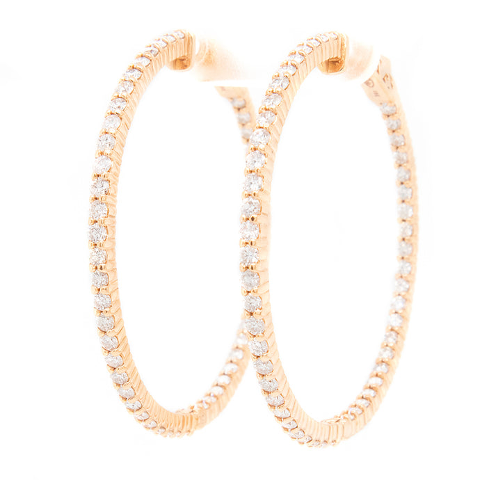 18k Rose Gold Diamond Hoops