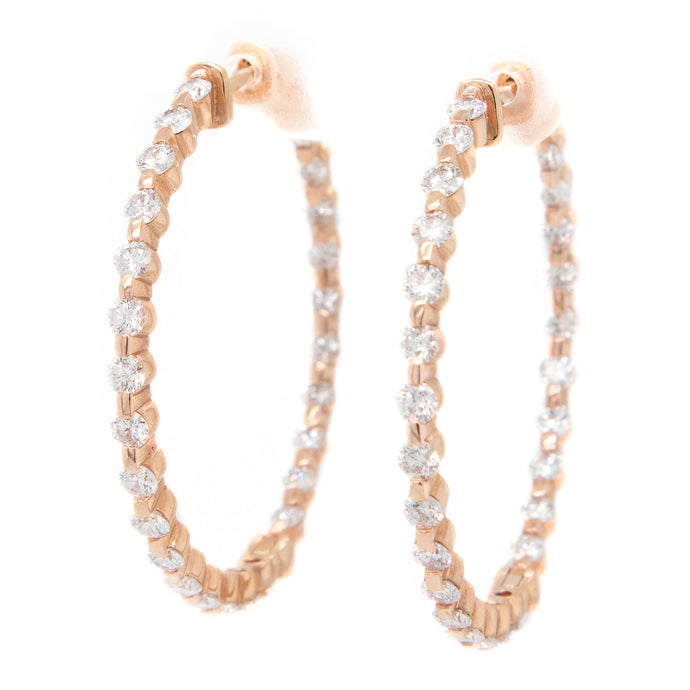18k Rose Gold Medium Hoops
