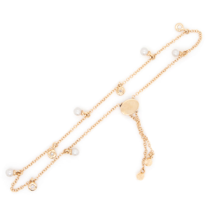 14k Yellow Gold Diamond & Pearl Bracelet