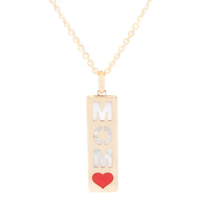 14k Yellow Gold & Mother of Pearl 'MOM' Pendant