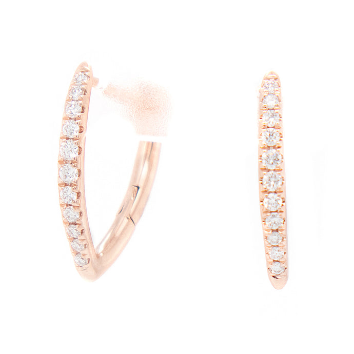 14k Rose Gold Diamond V-Hoop Earrings