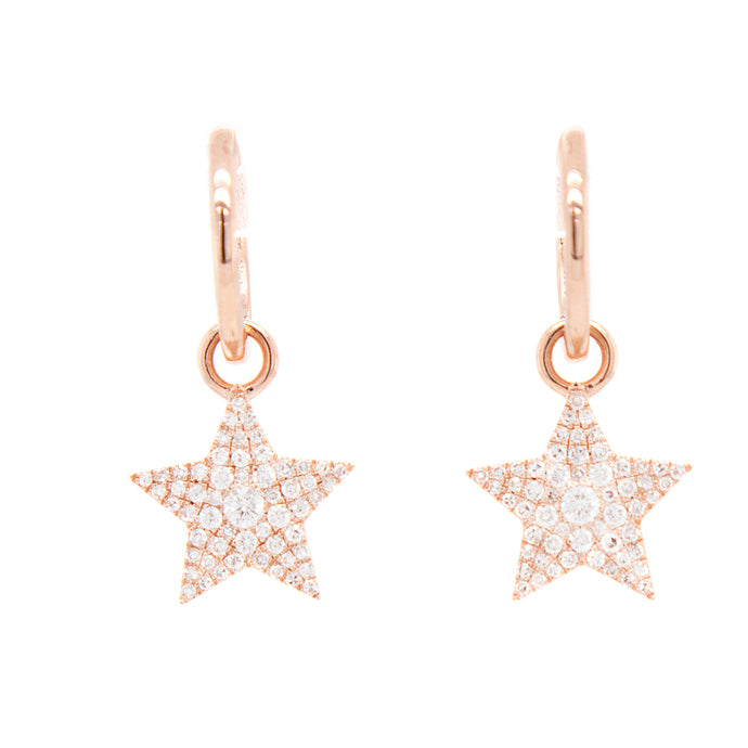 14k Rose Gold Diamond Star Drop Earrings
