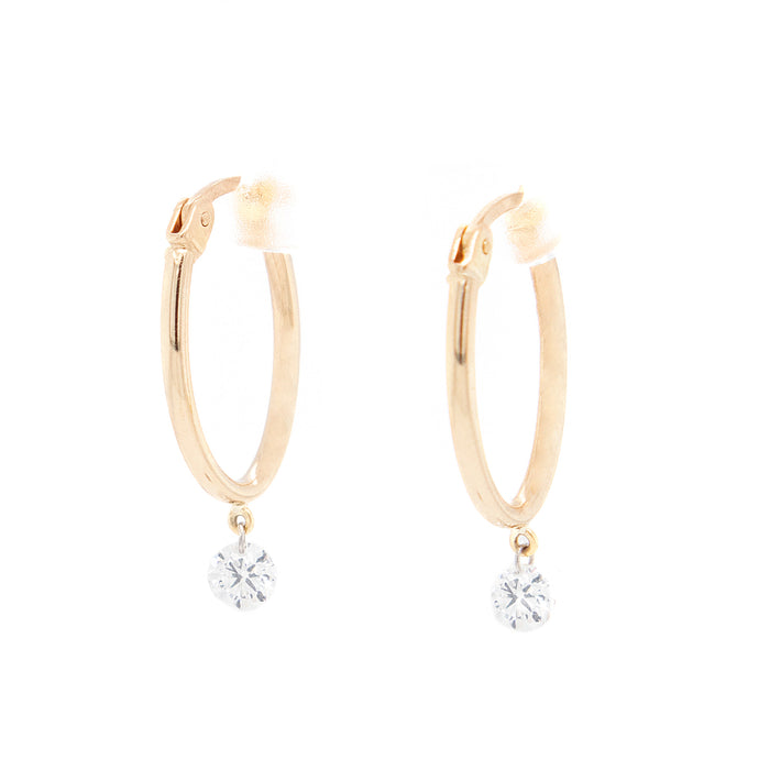 18k Yellow Gold Hoops With Diamond Drops