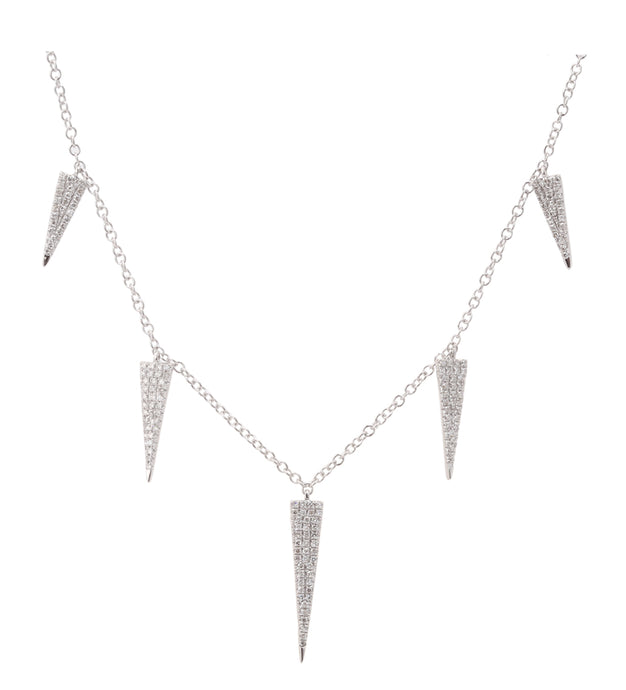 14k White Gold Diamond Spike Necklace