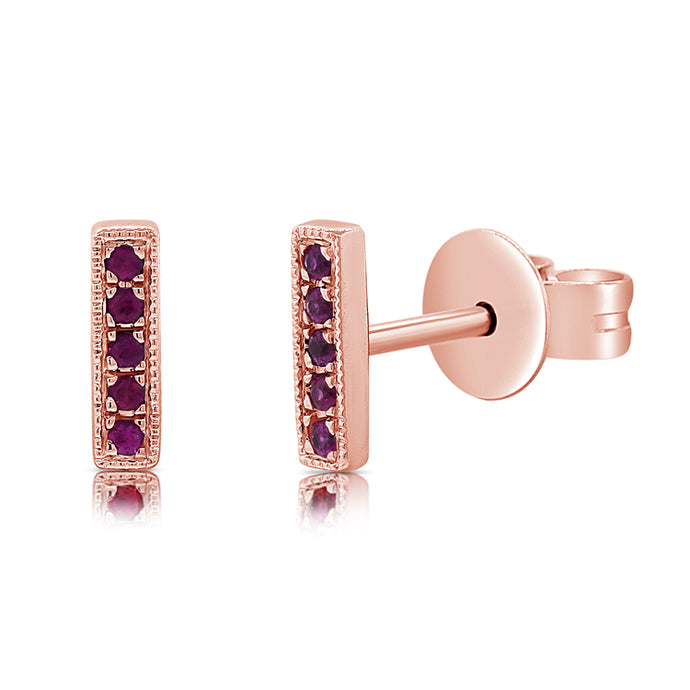 14k Rose Gold Ruby Bar Earrings