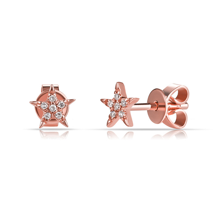14k Rose Gold Mini Diamond Star Earrings