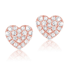 Load image into Gallery viewer, 14k Rose Gold Diamond Heart Earrings