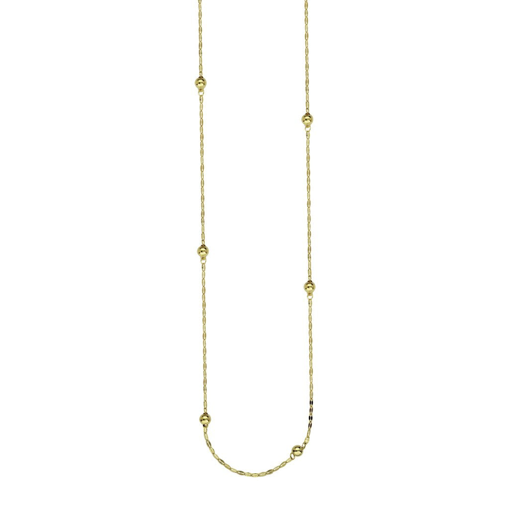 14k Yellow Gold Hammered Beaded Necklace-36