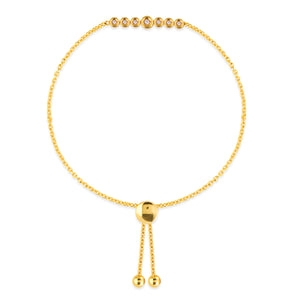 14k Yellow Gold Diamond Bolo Bracelet