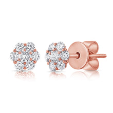 Load image into Gallery viewer, 14k White Gold Diamond Flower Stud Earrings