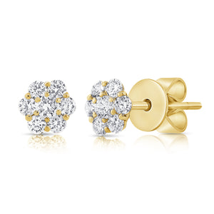 14k Rose Gold Diamond Stud Earrings