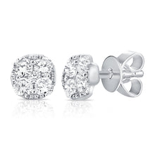 Load image into Gallery viewer, 14k White Gold Diamond Stud Earrings