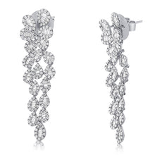 Load image into Gallery viewer, 14k White Gold Diamond Earrings