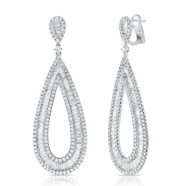 14k White Gold Baguette & Round Brilliant Cut Diamond Earrings
