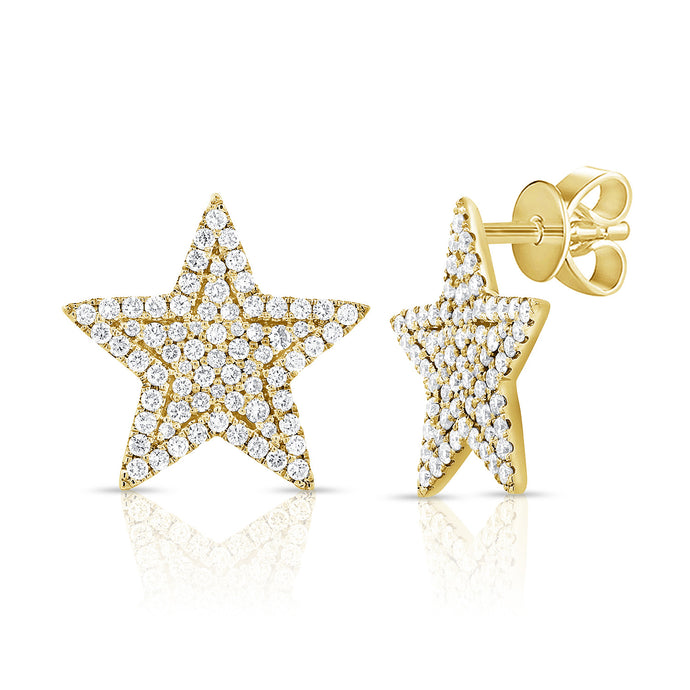 14k Yellow Gold Large Diamond Star Earrings