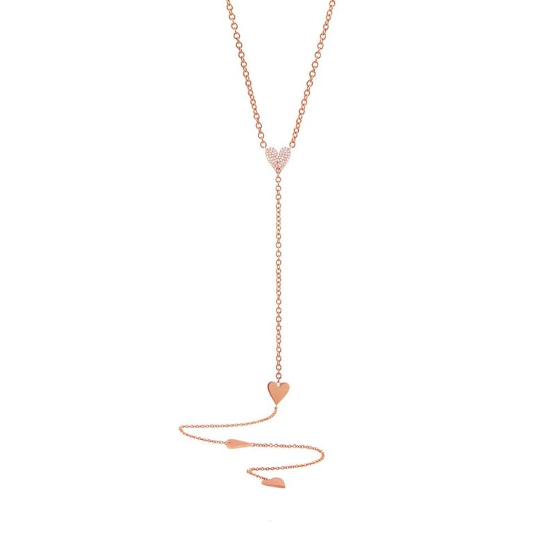 14k Rose Gold Pave Heart Lariat Necklace