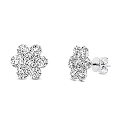 14k White Gold Diamond Flower Earrings