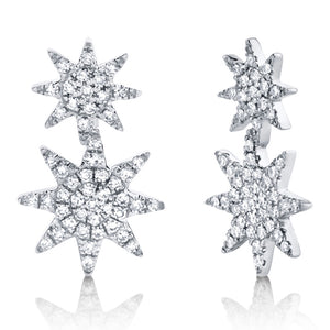 14k Rose Gold Diamond Star Earrings