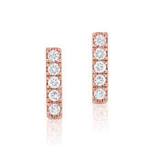 Load image into Gallery viewer, 14k Rose Gold Diamond Bar Earrings