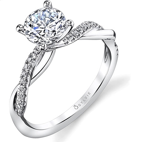 Sylvie Twist Shank Diamond Engagement Ring