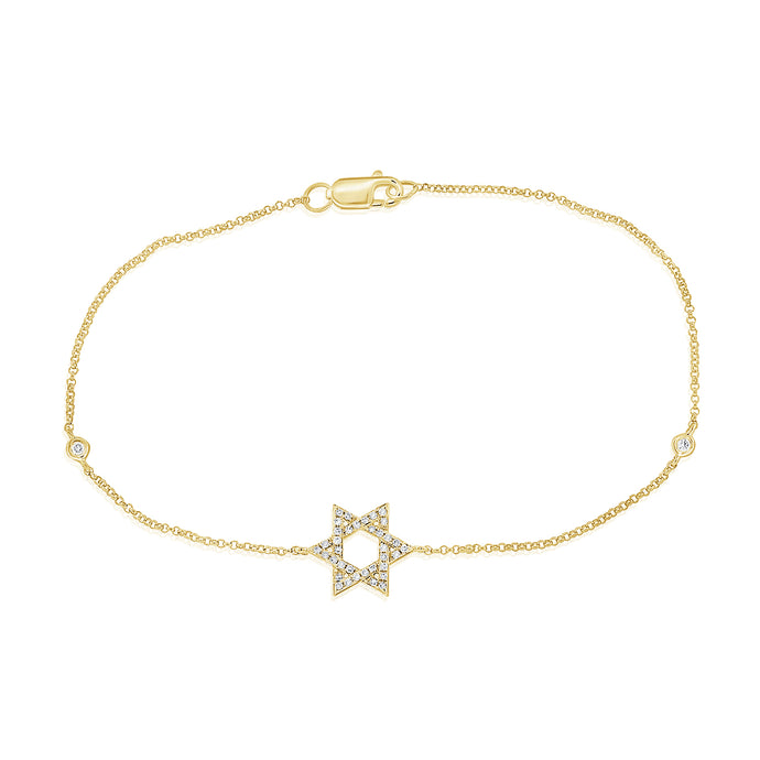14k Yellow Gold Diamond Star of David Bracelet