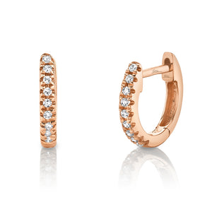 14k Rose Gold Small Diamond Huggy Earrings
