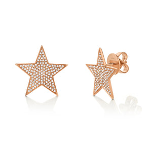 14k White Gold Large Diamond Star Earrings