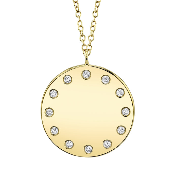 14k Yellow Gold Diamond Disc Necklace
