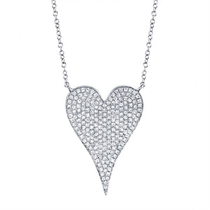 14k Rose Gold Medium Pave Heart Necklace