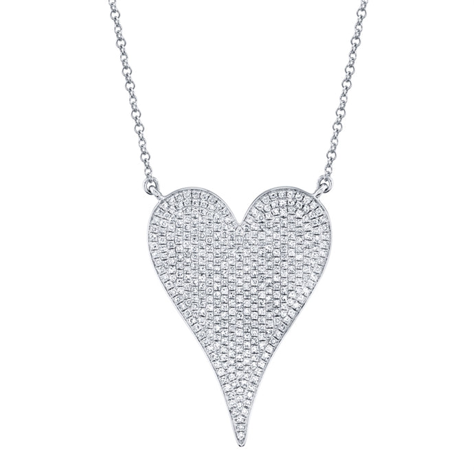 14k White Gold Jumbo Diamond Heart Necklace