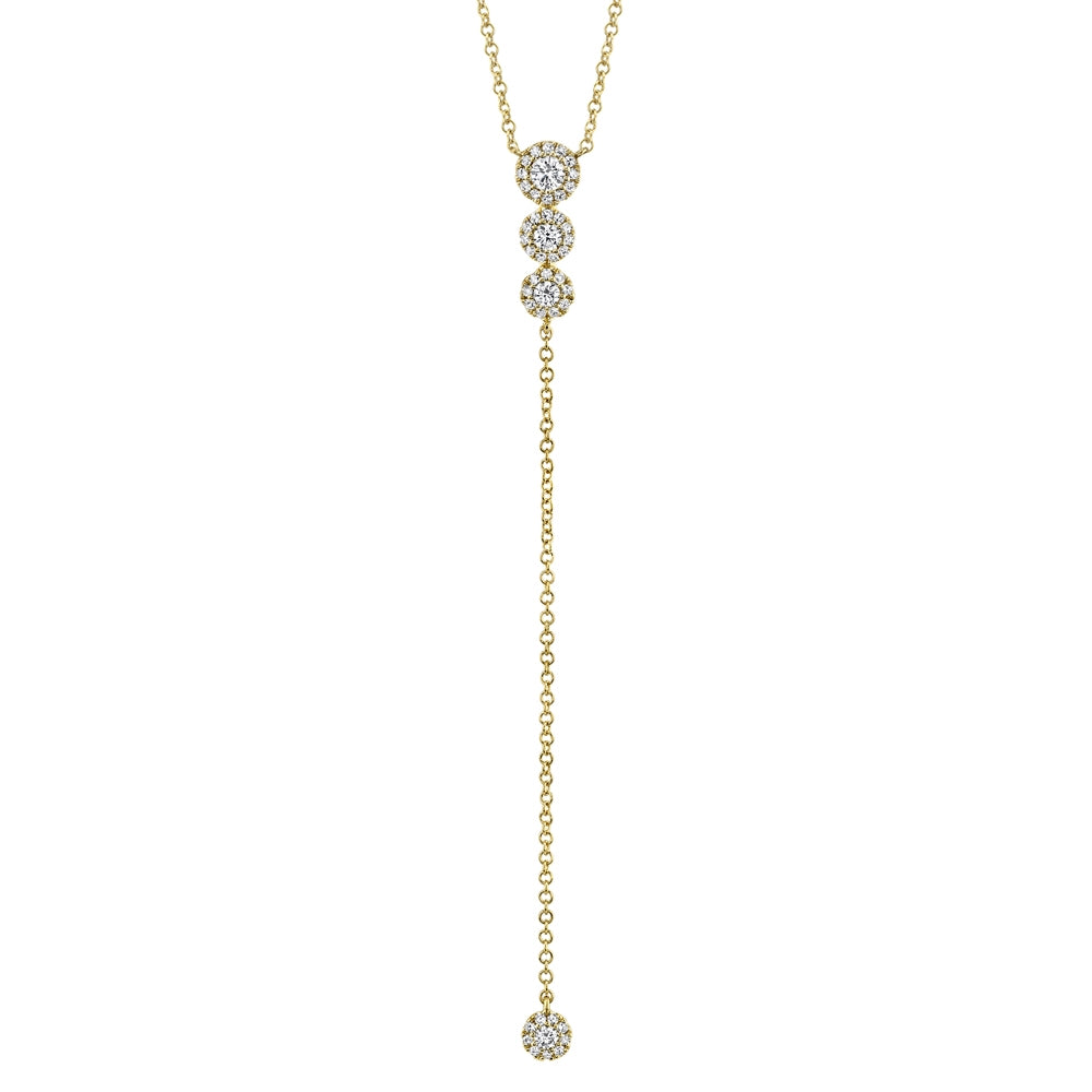 14k Yellow Gold Diamond Lariat Necklace
