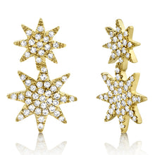 Load image into Gallery viewer, 14k White gold Diamond Star Earrings