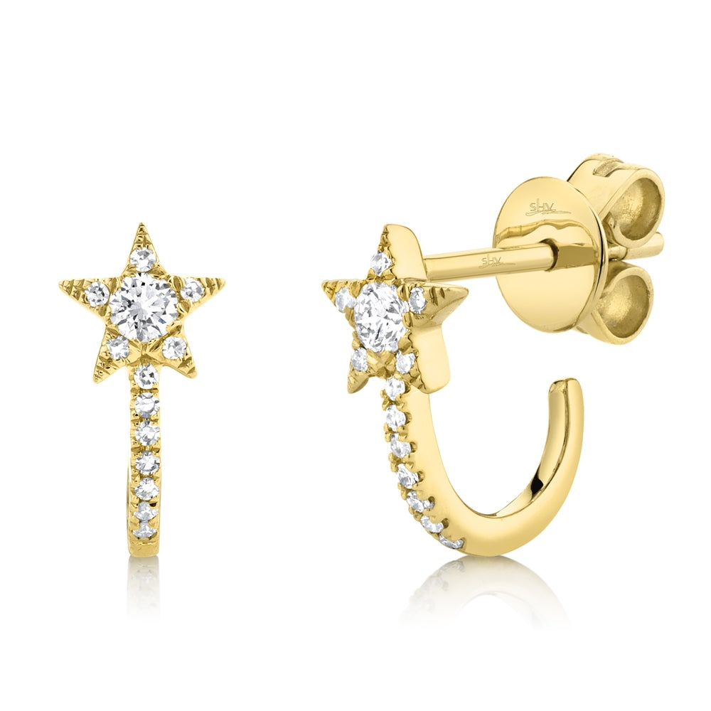 14k Yellow Gold Star Earrings