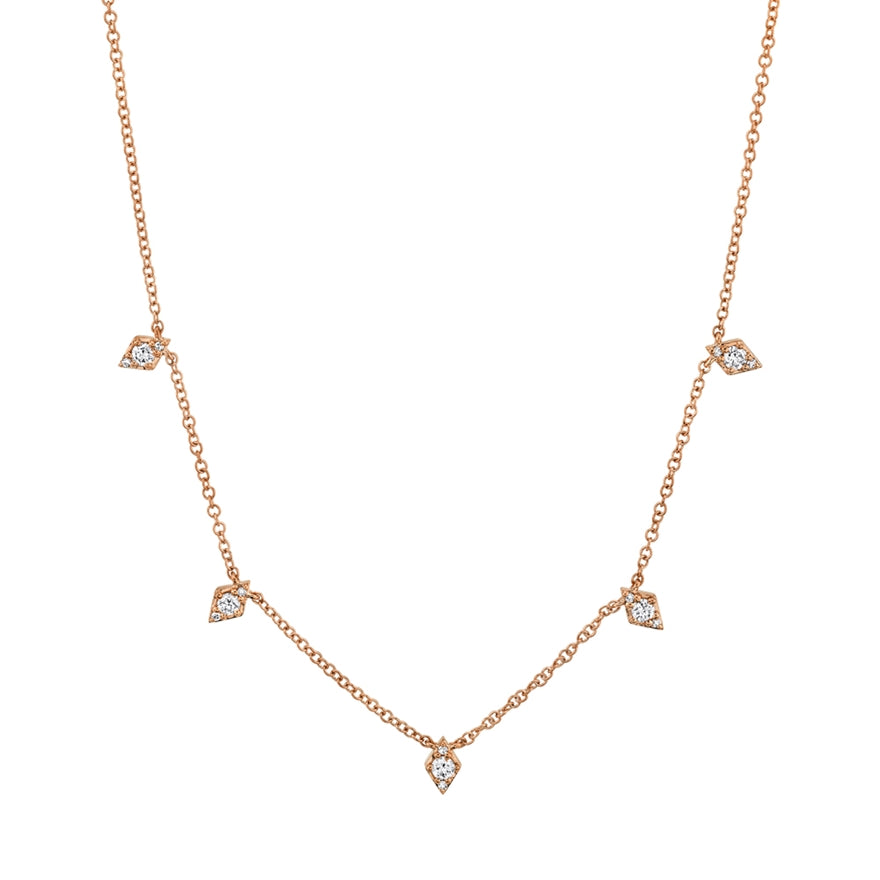 14k Rose Gold Diamond Dangle Necklace