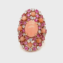 18k Rose Gold Diamond, Coral & Pink Sapphire Ring 360 view