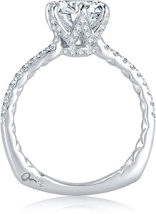 A.Jaffe 6-Prong Pave Diamond Engagement Ring