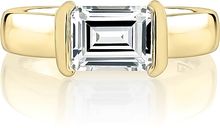 Load image into Gallery viewer, A.Jaffe Half Bezel East West Emerald Cut Diamond Engagement Ring