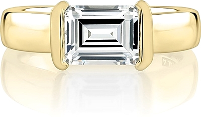 A.Jaffe Half Bezel East West Emerald Cut Diamond Engagement Ring