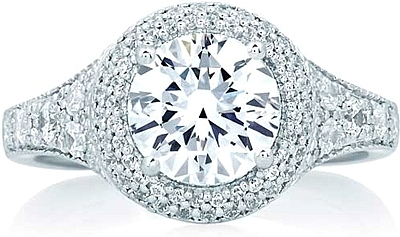 A.Jaffe Micro-Pave Halo Diamond Engagement Ring