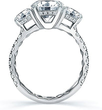 A.Jaffe Three Stone Pave Diamond Engagement Ring