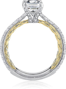 A.Jaffe Two-Tone Pave Diamond Engagement Ring