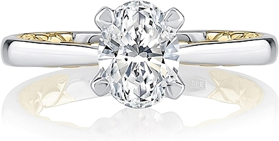 A.Jaffe Two Tone Solitaire Diamond Engagement Ring