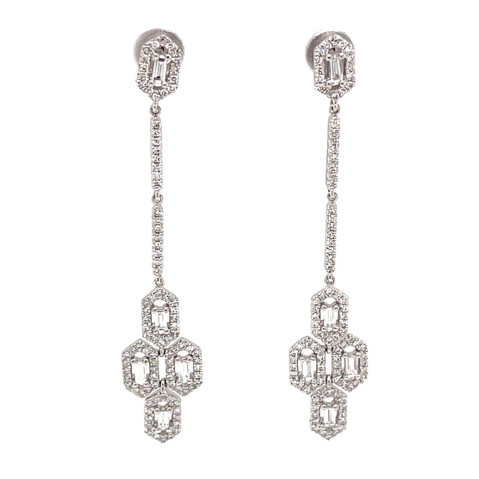 14k White Gold Art Deco Earrings