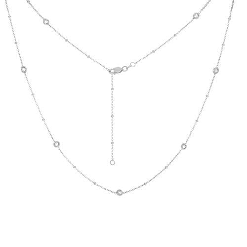 14k White Gold Diamond by the Yard Necklace- 20