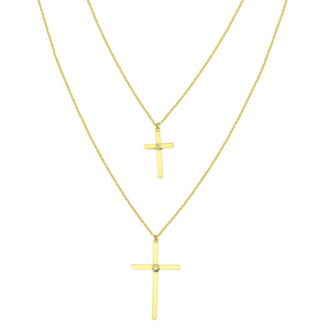 14k Yellow Gold Double Cross Necklace