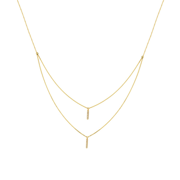 14k Yellow Gold Double Stick Necklace