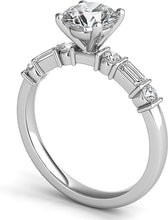 Load image into Gallery viewer, Baguette & Round Diamond Engagement Ring